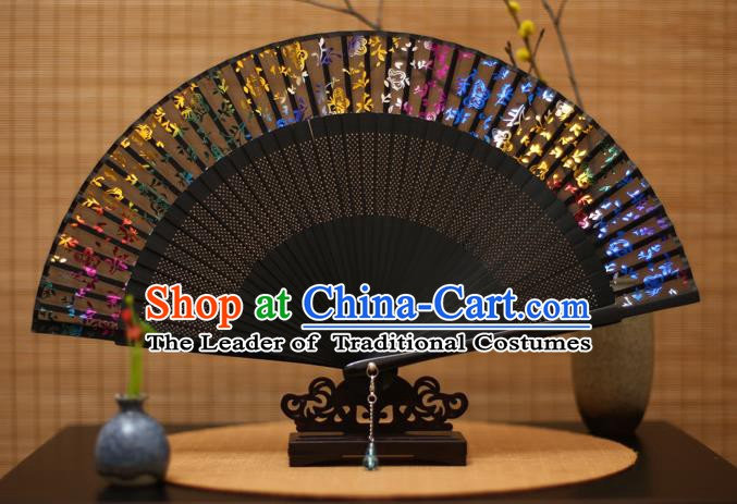 Traditional Chinese Crafts Printing Flowers Silk Folding Fan Sensu Fans for Women