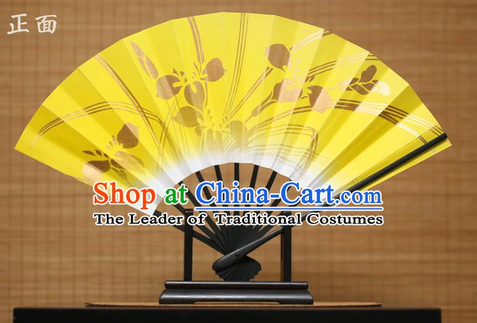 Traditional Chinese Crafts Printing Orchid Yellow Paper Folding Fan Sensu Fans for Women