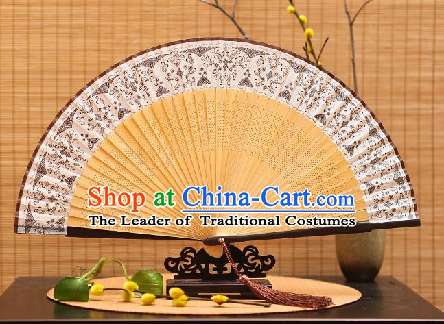 Traditional Chinese Crafts Brown Silk Folding Fan Sensu Fans for Women