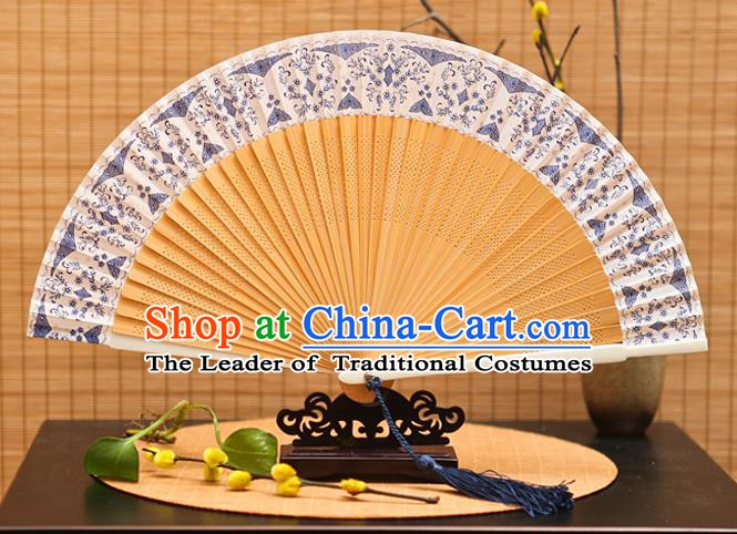 Traditional Chinese Crafts Blue Silk Folding Fan Sensu Fans for Women