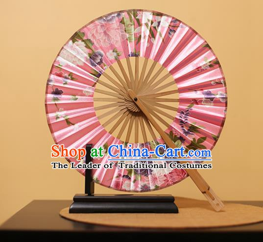 Traditional Chinese Crafts Printing Peony Pink Silk Folding Fan, China Beijing Opera Round Fans for Women