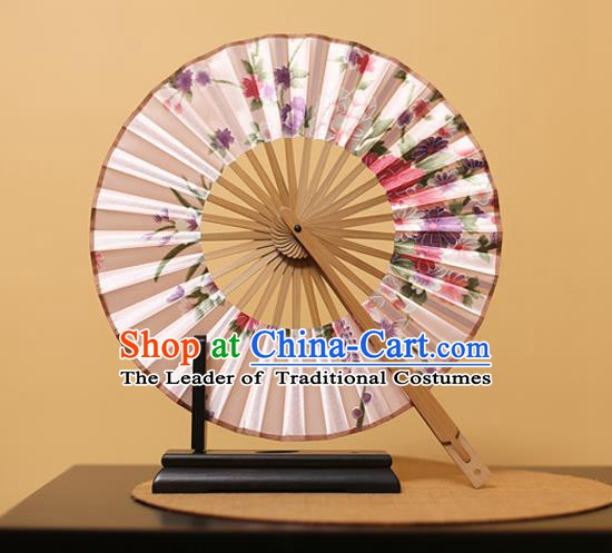 Traditional Chinese Crafts Printing Peony Light Pink Silk Folding Fan, China Beijing Opera Round Fans for Women
