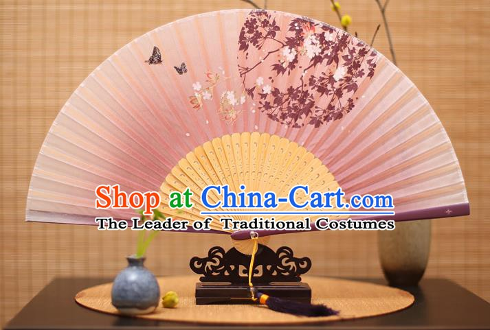 Traditional Chinese Crafts Printing Oriental Cherry Lilac Folding Fan, China Beijing Opera Silk Fans for Women