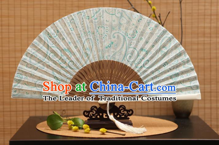 Traditional Chinese Crafts Printing Green Folding Fan, China Beijing Opera Silk Fans for Women