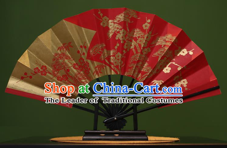 Traditional Chinese Crafts Printing Plum Blossom Red Paper Folding Fan Sensu Fans for Women