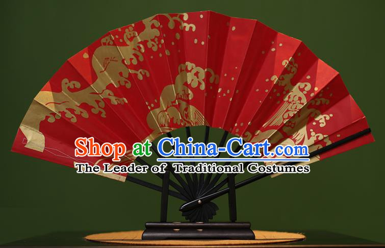 Traditional Chinese Crafts Printing Red Paper Folding Fan Sensu Fans for Women