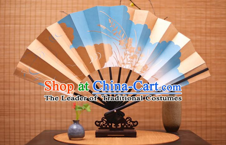 Traditional Chinese Crafts Printing Orchid Blue Paper Folding Fan Sensu Fans for Women
