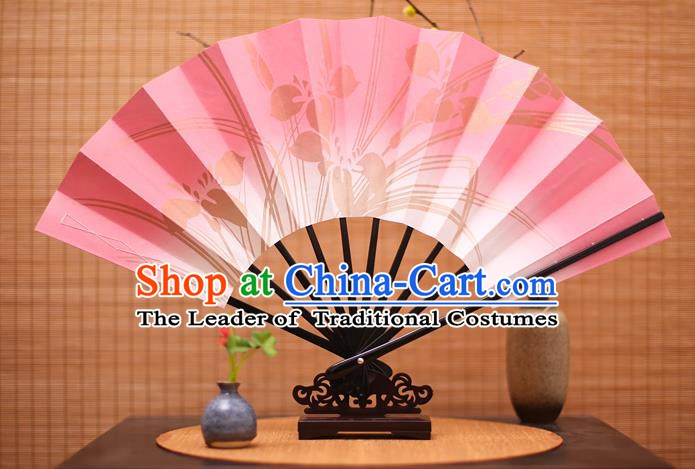 Traditional Chinese Crafts Printing Orchid Pink Paper Folding Fan Sensu Fans for Women