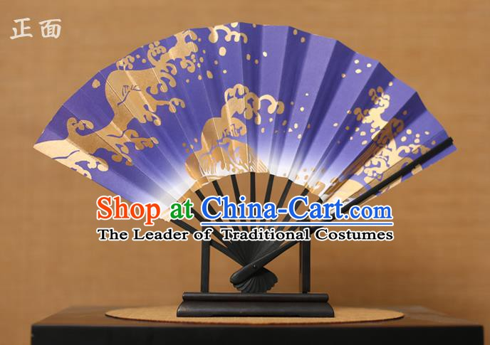 Traditional Chinese Crafts Printing Purple Paper Folding Fan Sensu Fans for Women