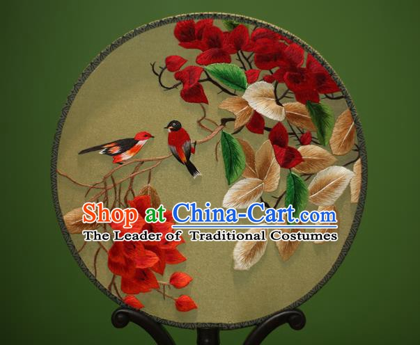 Traditional Chinese Crafts Embroidered Flowers Birds Round Fan, China Palace Fans Princess Silk Circular Fans for Women