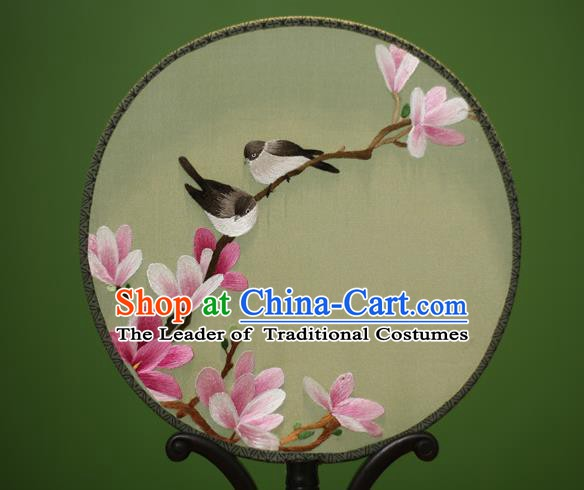 Traditional Chinese Crafts Embroidered Magnolia Birds Round Fan, China Palace Fans Princess Silk Circular Fans for Women