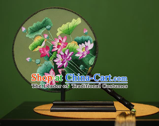 Traditional Chinese Crafts Embroidered Lotus Flowers Round Fan, China Palace Fans Princess Silk Circular Fans for Women