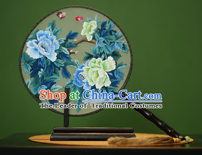 Traditional Chinese Crafts Embroidered Butterfly Peony Round Fan, China Palace Fans Princess Silk Circular Fans for Women