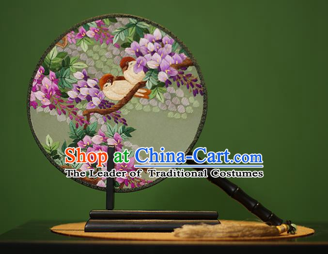 Traditional Chinese Crafts Embroidered Purple Flowers Round Fan, China Palace Fans Princess Silk Circular Fans for Women