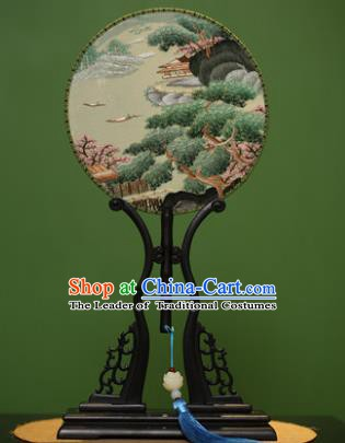 Traditional Chinese Crafts Embroidered Pine Round Fan, China Palace Fans Princess Silk Circular Fans for Women