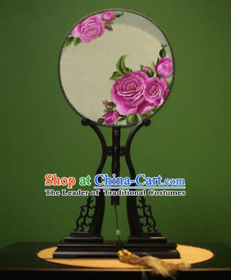 Traditional Chinese Crafts Embroidered Purple Peony Round Fan, China Palace Fans Princess Silk Circular Fans for Women