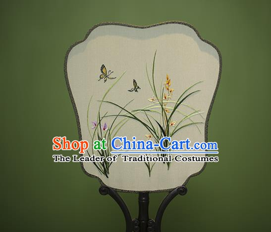 Traditional Chinese Crafts Embroidered Orchid Silk Fan, China Palace Fans Princess Square Fans for Women