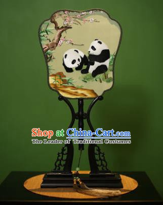 Traditional Chinese Crafts Embroidered Panda Silk Fan, China Palace Fans Princess Square Fans for Women