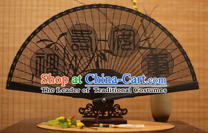 Traditional Chinese Crafts Black Sandalwood Folding Fan, Chinese Hollow Out Fans Bamboo Fans for Women