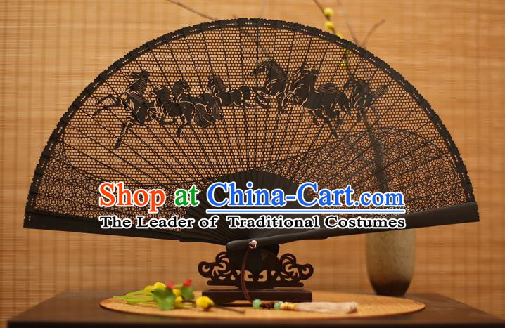 Traditional Chinese Crafts Black Sandalwood Folding Fan, Chinese Hollow Out Horse Fans Bamboo Fans for Women