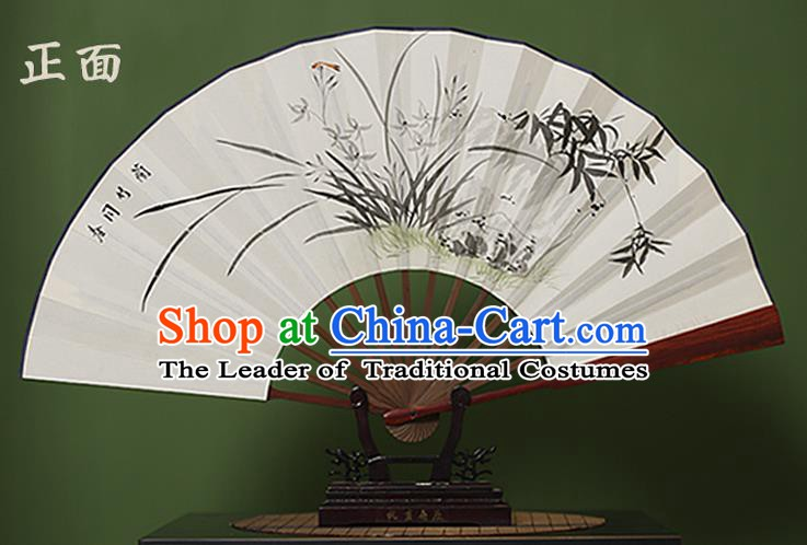 Traditional Chinese Crafts Ink Painting Orchid Folding Fan, China Handmade Xuan Paper Fans for Men