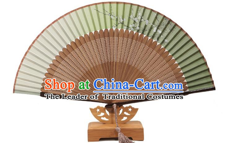 Traditional Chinese Crafts Folding Fan, China Printing Plum Blossom Green Silk Fans for Women
