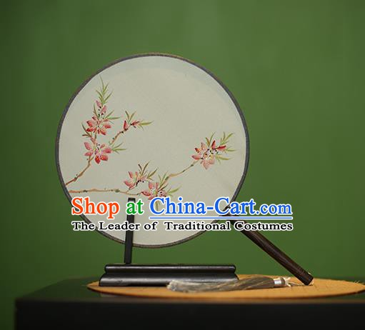 Traditional Chinese Crafts Round Silk Fan, China Palace Fans Princess Printing Peach Blossom Circular Fans for Women