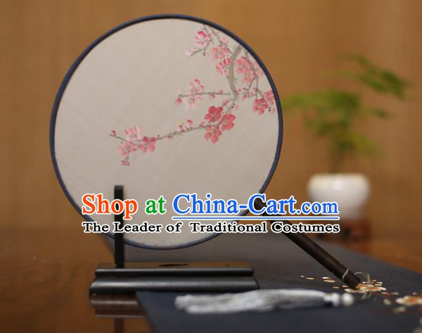 Traditional Chinese Crafts Round Silk Fan, China Palace Fans Princess Printing Pink Wintersweet Circular Fans for Women