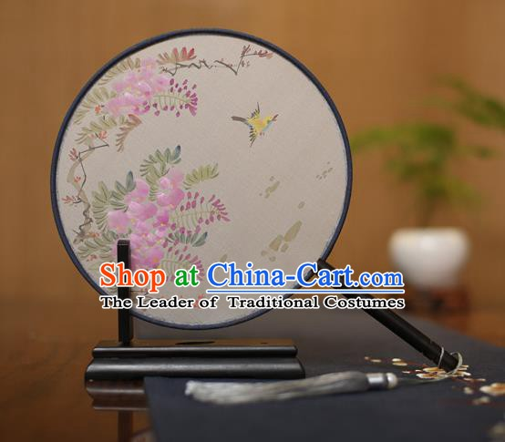 Traditional Chinese Crafts Round Silk Fan, China Palace Fans Princess Printing Bird Circular Fans for Women