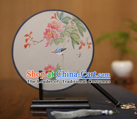 Traditional Chinese Crafts Round Silk Fan, China Palace Fans Princess Printing Flowers and Bird Circular Fans for Women
