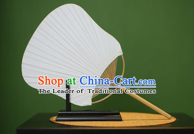 Traditional Chinese Crafts Xuan Paper Fan, Chinese Art Paper Palace Fans Bamboo Handle Fans for Women