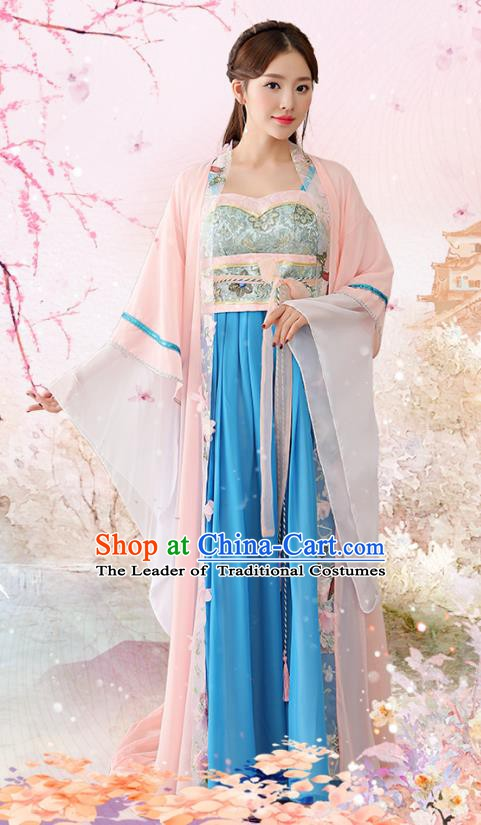 Traditional Chinese Tang Dynasty Imperial Consort Embroidered Costume, China Ancient Palace Lady Hanfu Clothing for Women