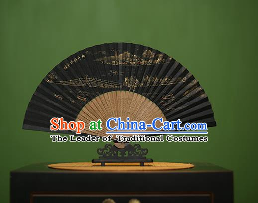 Traditional Chinese Crafts Hand Painting Su Causeway Silk Folding Fan, China Handmade Bamboo Fans for Women