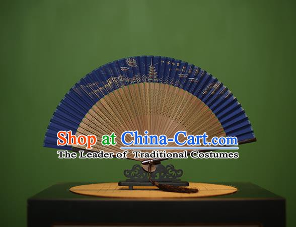 Traditional Chinese Crafts Hand Painting Leifeng Pagoda Blue Silk Folding Fan, China Handmade Bamboo Fans for Women