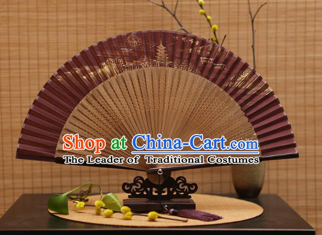 Traditional Chinese Crafts Hand Painting Leifeng Pagoda Amaranth Silk Folding Fan, China Handmade Bamboo Fans for Women