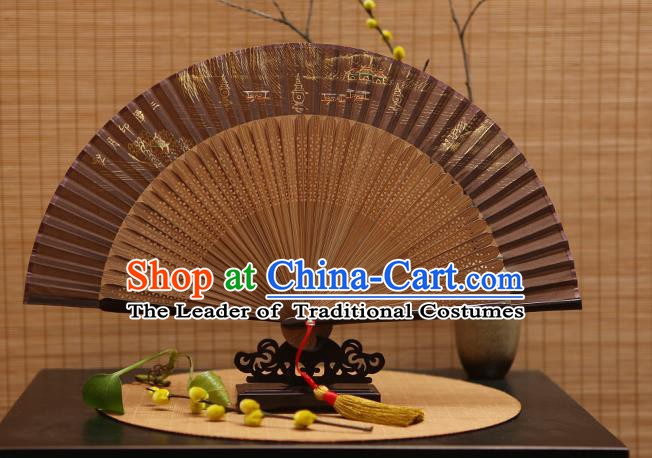 Traditional Chinese Crafts Hand Painting West Lake Brown Silk Folding Fan, China Handmade Bamboo Fans for Women