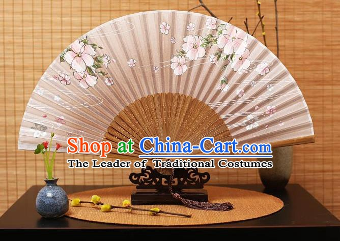 Traditional Chinese Crafts Printing Flowers Pink Folding Fan, China Handmade Bamboo Fans for Women
