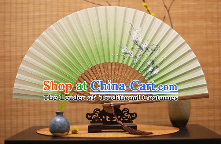 Traditional Chinese Crafts Printing Plum Blossom Light Green Folding Fan, China Handmade Bamboo Fans for Women