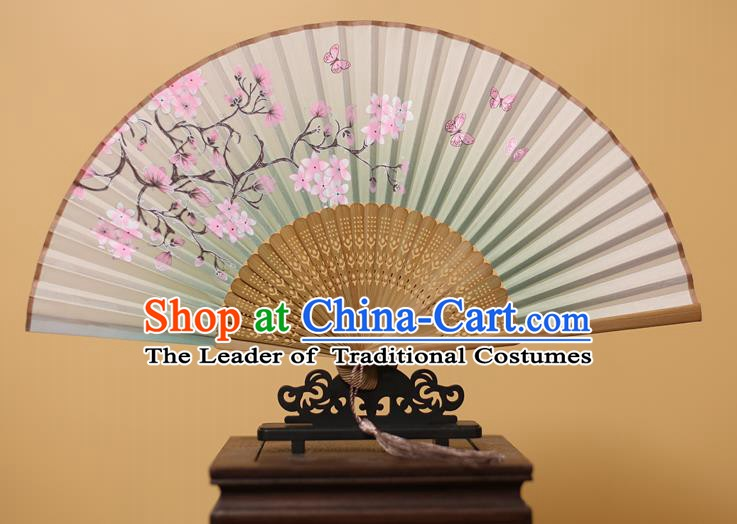 Traditional Chinese Crafts Printing Peach Blossom Green Folding Fan, China Handmade Bamboo Fans for Women