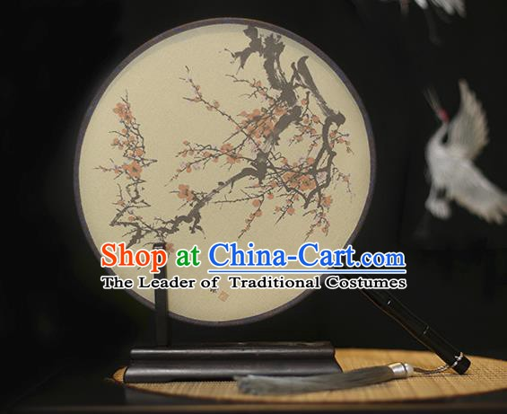 Traditional Chinese Crafts Printing Plum Blossom Silk Round Fan, China Palace Fans Princess Circular Fans for Women