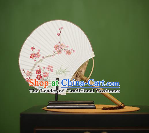 Traditional Chinese Crafts Printing Peach Blossom Paper Fan, China Palace Fans Princess Round Fans for Women