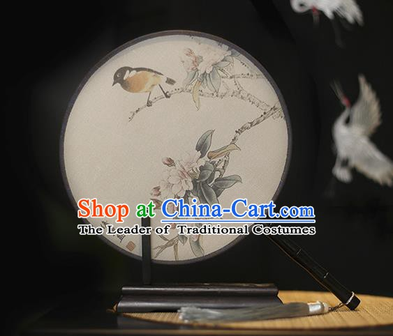 Traditional Chinese Crafts Printing Flowers Bird Silk Round Fan, China Palace Fans Princess Circular Fans for Women