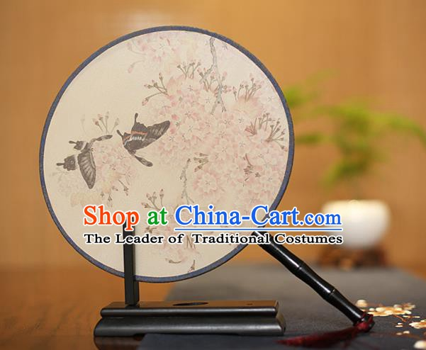 Traditional Chinese Crafts Printing Wintersweet Butterfly Silk Round Fan, China Palace Fans Princess Circular Fans for Women