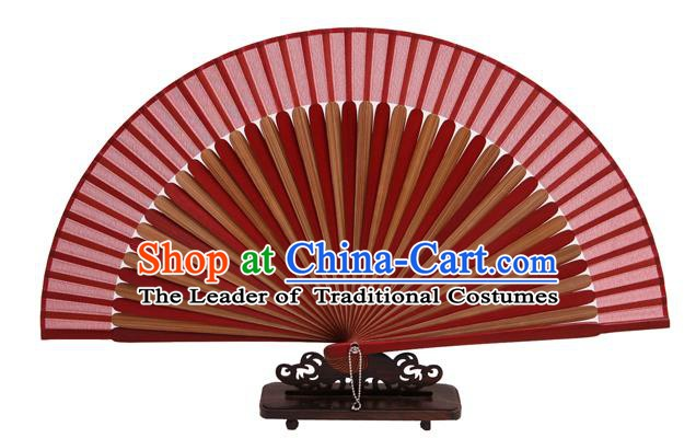 Traditional Chinese Crafts Red Silk Folding Fan, China Handmade Bamboo Bone Fans for Women