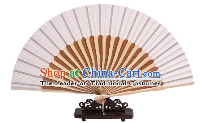 Traditional Chinese Crafts White Silk Folding Fan, China Handmade Bamboo Bone Fans for Women