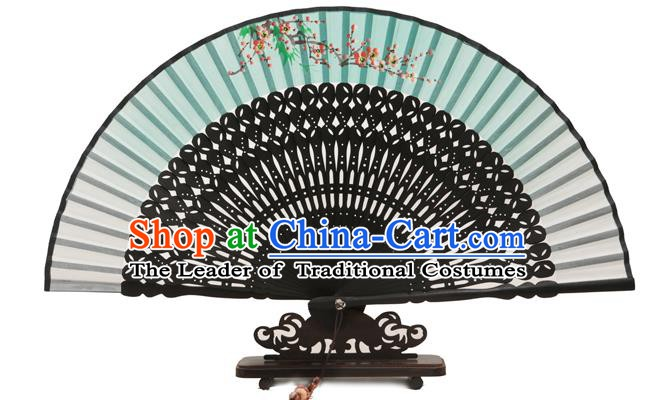 Traditional Chinese Crafts Green Silk Folding Fan, China Handmade Printing Plum Blossom Fans for Women