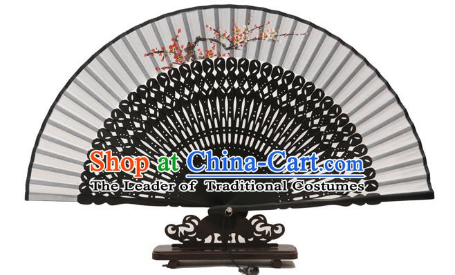 Traditional Chinese Crafts Grey Silk Folding Fan, China Handmade Printing Plum Blossom Fans for Women
