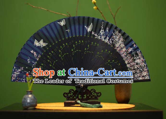 Traditional Chinese Crafts Printing Classical Folding Fan, China Handmade Navy Silk Fans for Women