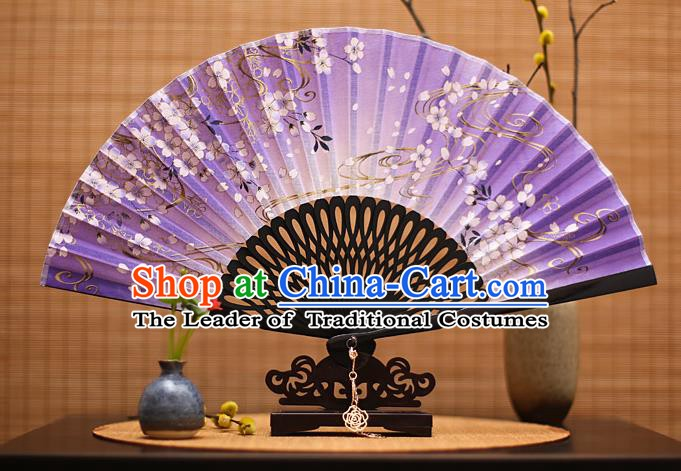 Traditional Chinese Crafts Printing Flowers Classical Folding Fan, China Handmade Purple Silk Fans for Women