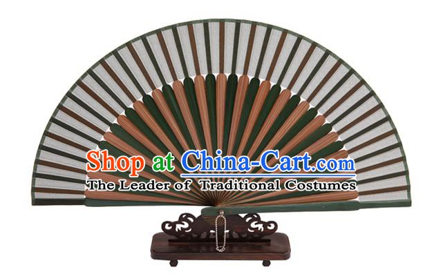 Traditional Chinese Crafts Green Silk Folding Fan, China Handmade Bamboo Bone Fans for Women